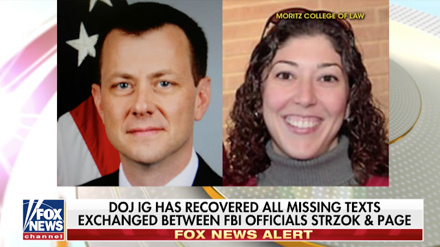 DOJ recovers missing text messages between anti-Trump FBI agents Strzok and Page.