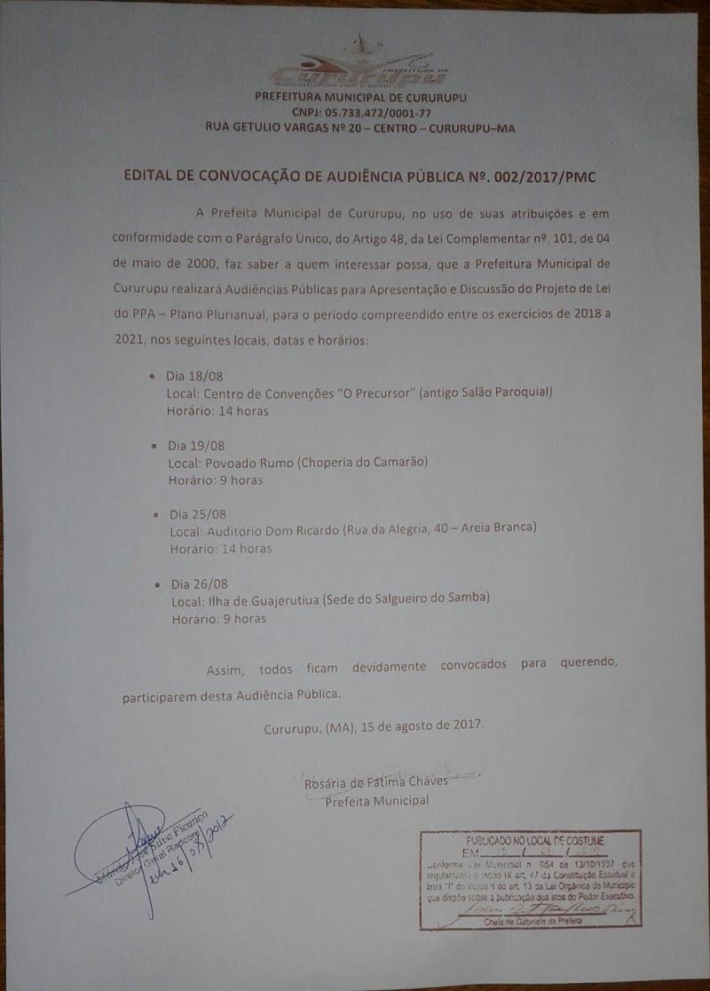POPULAÇÃO DISCUTIRÁ PPA-PLANO PLURIANUAL 2018-2021.