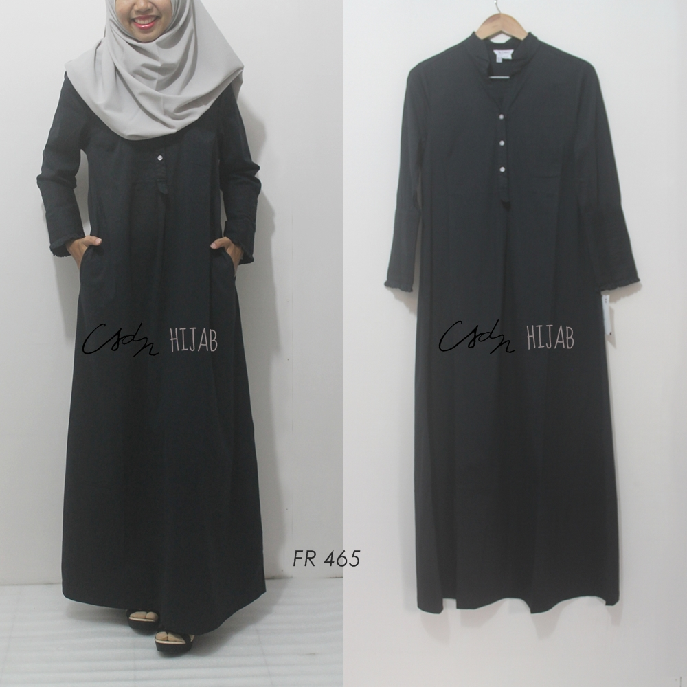 Gamis Katun Stretch Warna Abu Muda Variasi Lipit Model