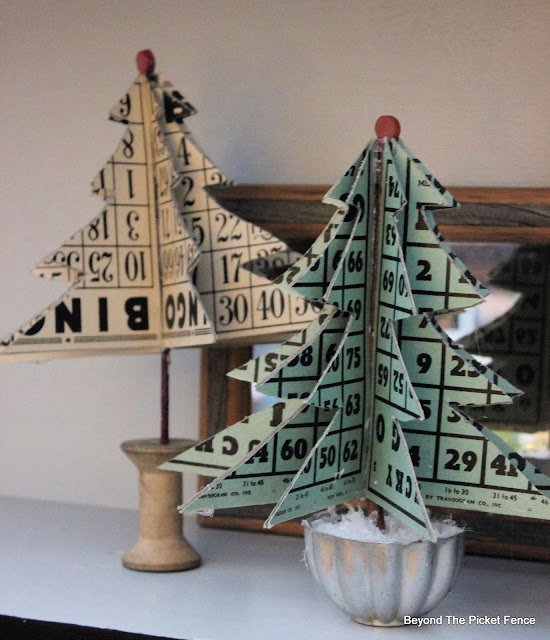 Make Christmas Trees from Vintage Bingo Cards