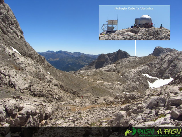 Vista de Cabaña Verónica desde las inmediaciones de Horcados Rojos.
