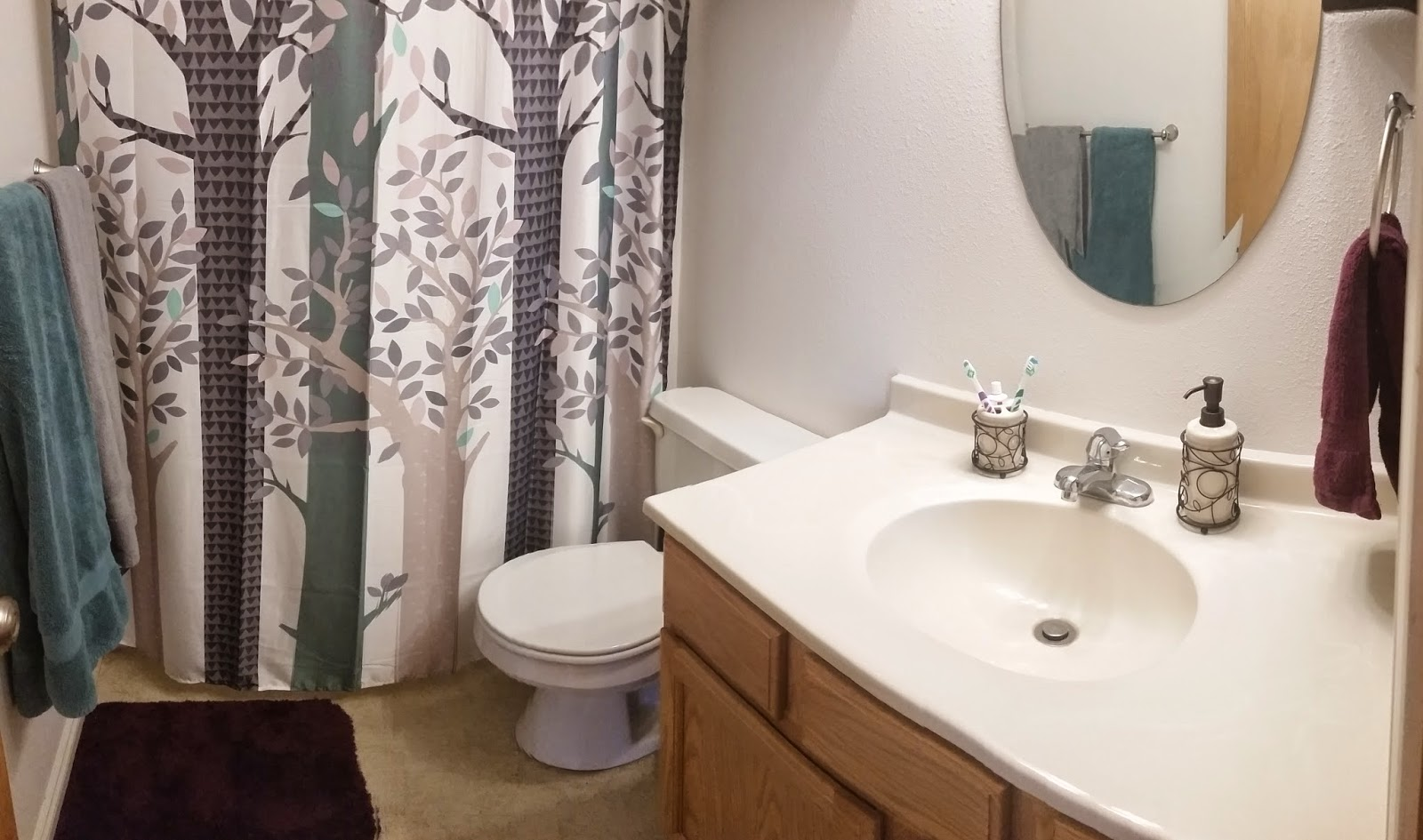 I Also Love Our Color Coordinated And Tree Leaf Themed Bathroom It Is Great To Have Upgraded Past The Eclectic Decor A Bit
