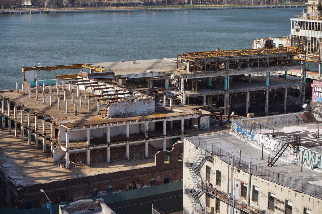 View from Williamsburg Bridge of Domino Sugar Refinery undergoing demolition