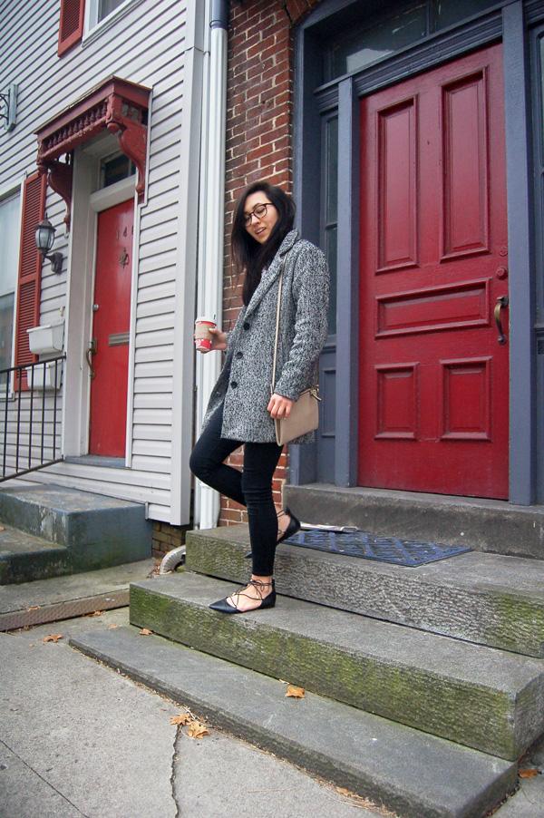 Gray Coat Black Jeans Black Shoes