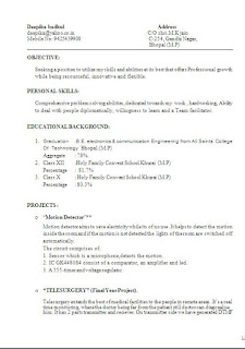 Samples Of A Curriculum Vitae