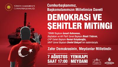 demokrasi ve şehitler mitingi daveti