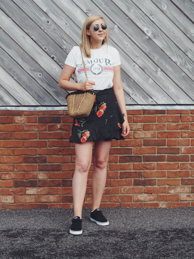 fbloggers, fashionbloggers, ootd, outfitoftheday, wiw, whatimwearing, asseenonme, topshop, topshopoutfit, amourtop, zarabasketbag, floralskirt, vanstrainers, primarkraybansunglasses, lotd, lookoftheday, fashionpost