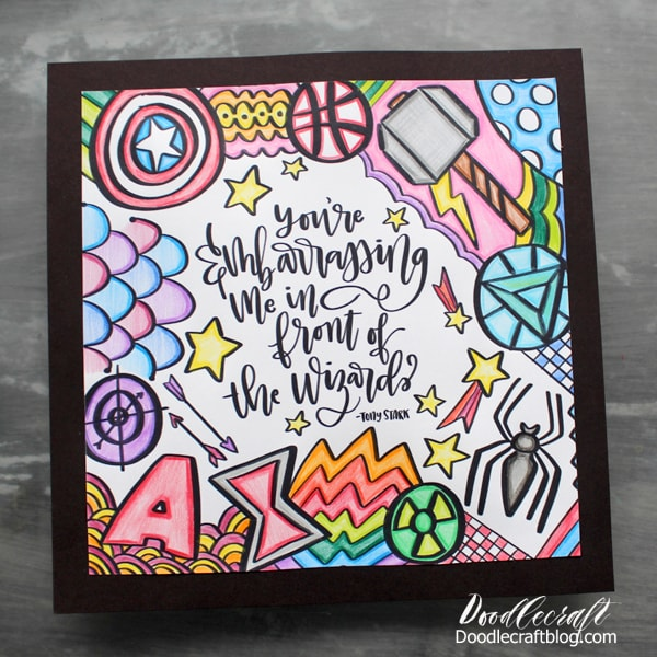 Doodlecraft Avengers End Game Zentangle Coloring Page With Tombow