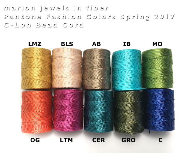 C-Lon Bead Cord Colors/Pantone Colors Spring 2017