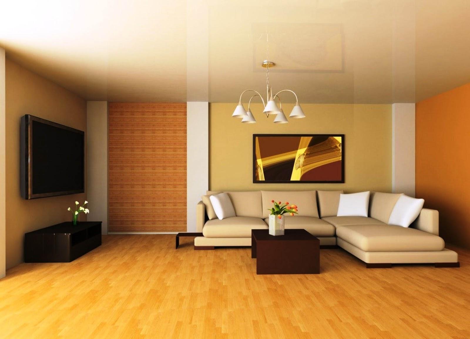 Cat Dinding Ruang Tamu Modern Warna Kuning dan Orange