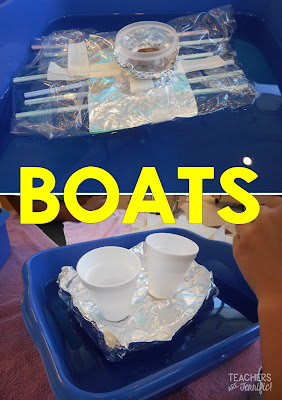 STEM Challenge: This one is on our best challenges list because all kids love it. After building a boat students test it with weights! How many pennies can it hold? It all depends on the boat's design!