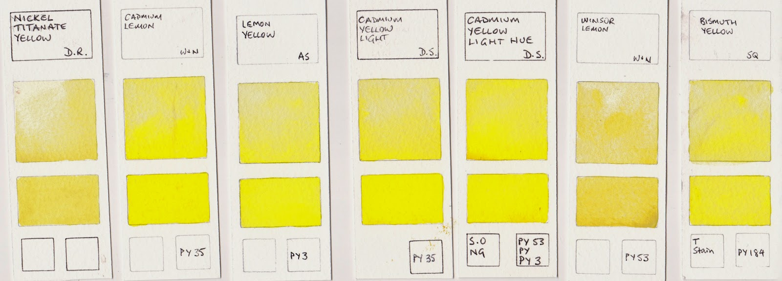 Jane Blundell Artist: Watercolour Comparisons 7 - Yellows