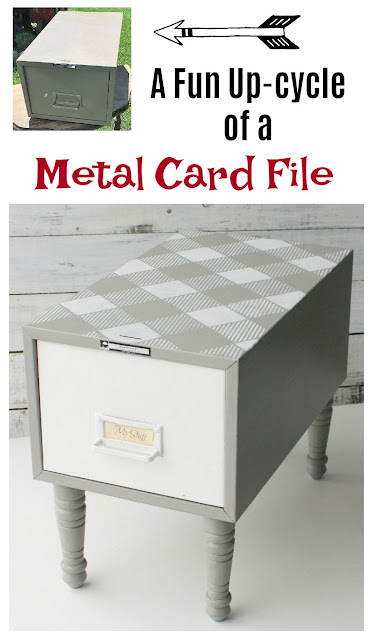 Upcycled and Repurposed Garage Sale Metal Card File