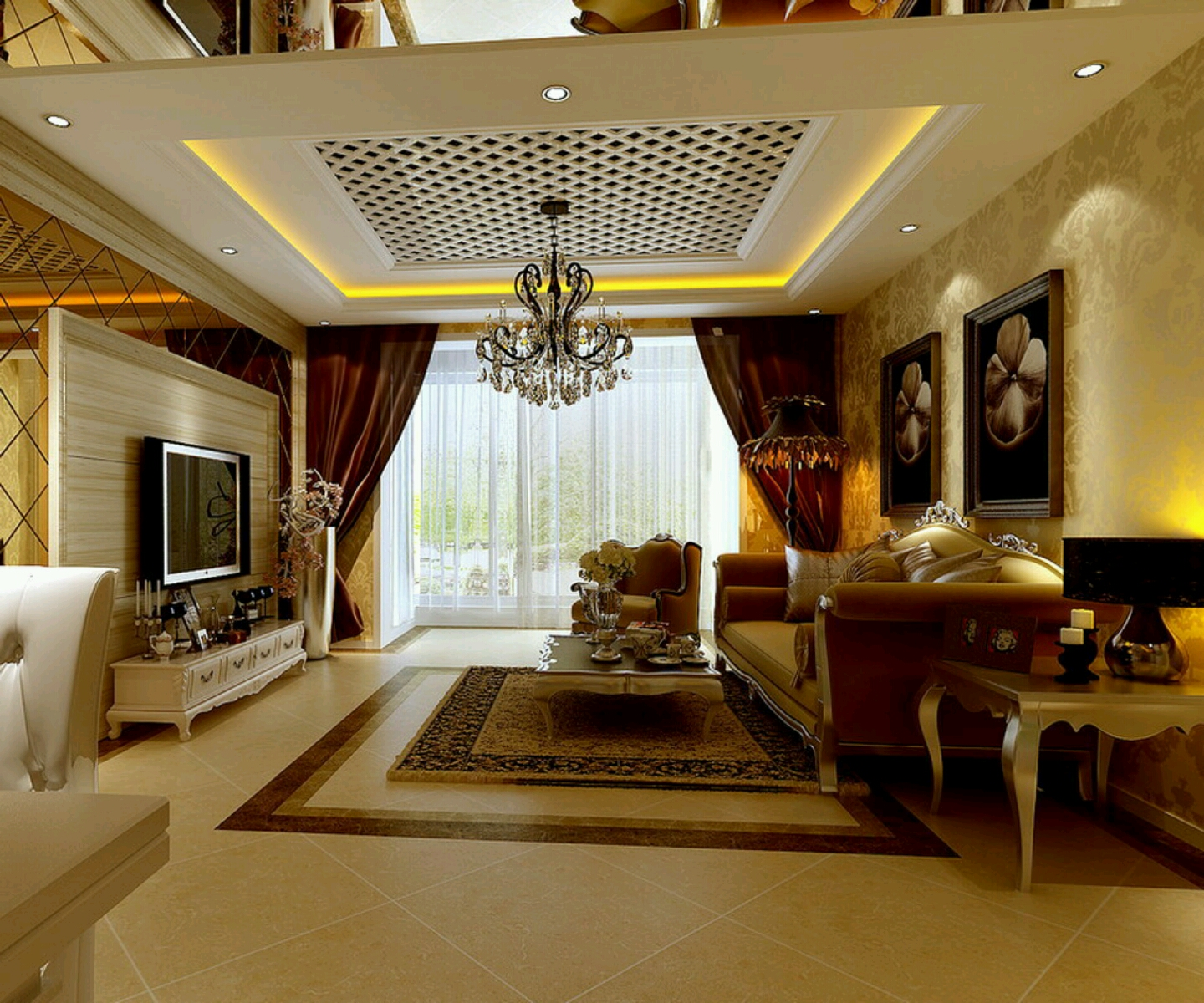 New home designs latest luxury homes interior decoration for Images of living room designs