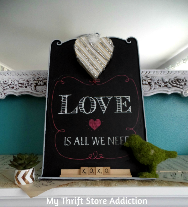 Valentine Chalkboard Upcycle mythriftstoreaddiction.blogspot.com Clearance chalkboard upcycle and Valentine decal