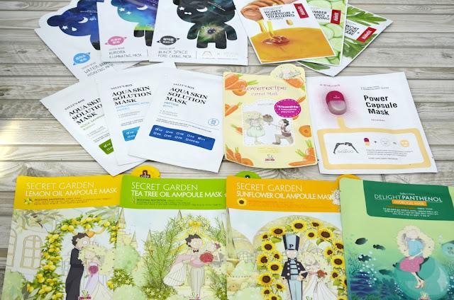 E_katerina: тканевые маски Oozoo,  Manefit, Aqua Skin Solution, Sally's Box, Secret Garden