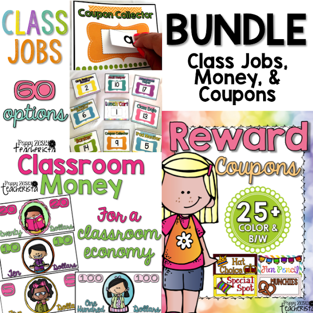 Classroom Money, Classroom Job Chart, AND Reward Coupons to kickstart classroom management for your classroom economy!