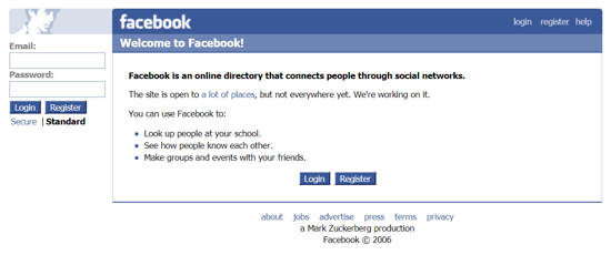 Facebook home page April 2006