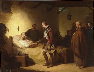 Don Juan de Austria visitando a un convaleciente Miguel de Cervantes, en el hospital de campaña de Mesina. Mil gracias nuevamente por llegar hasta aquí, mis amables y sufridos lectores.