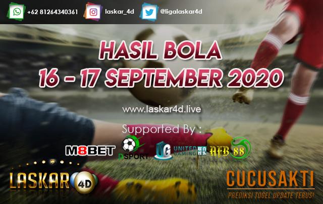HASIL BOLA JITU TANGGAL 16 - 17 SEPTEMBER 2020