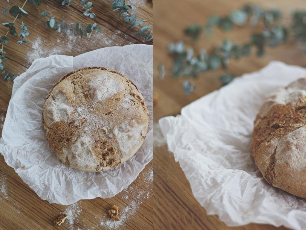 Laib Brot von oben und im Anschnitt