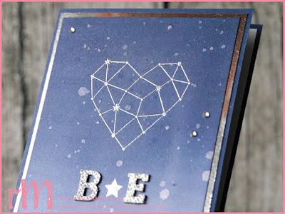 Stampin' Up! rosa Mädchen Kulmbach: Hochzeitskarte mit Initialen und Sternstunden im Ombre Look