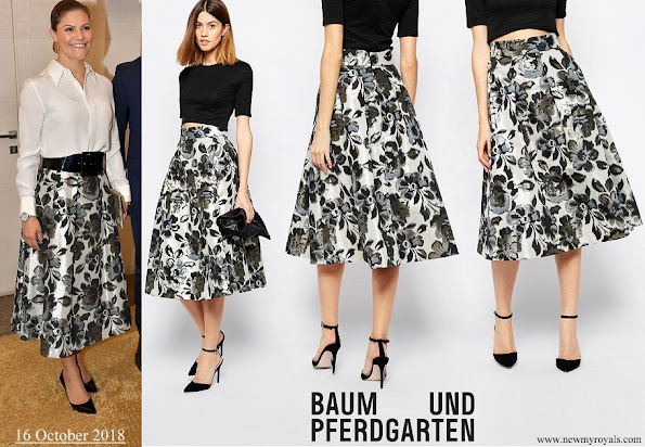 Crown Princess Victoria wore Baum Und Pferdgarten Sashenka Midi Skirt in Metallic