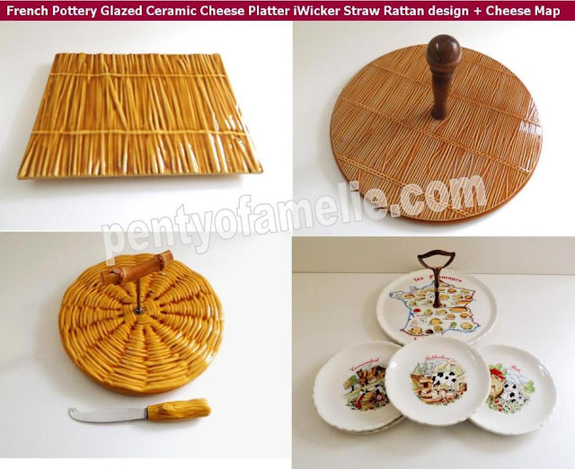 Fall season French Pottery Glazed Ceramic Cheese Platters, Majolica Wicker Straw Rattan design, French Cheese Terroir Map matching plates Set