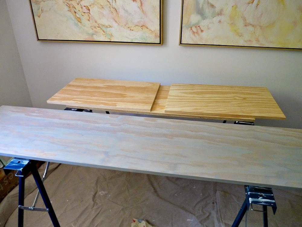 Grey stain on pine plywood