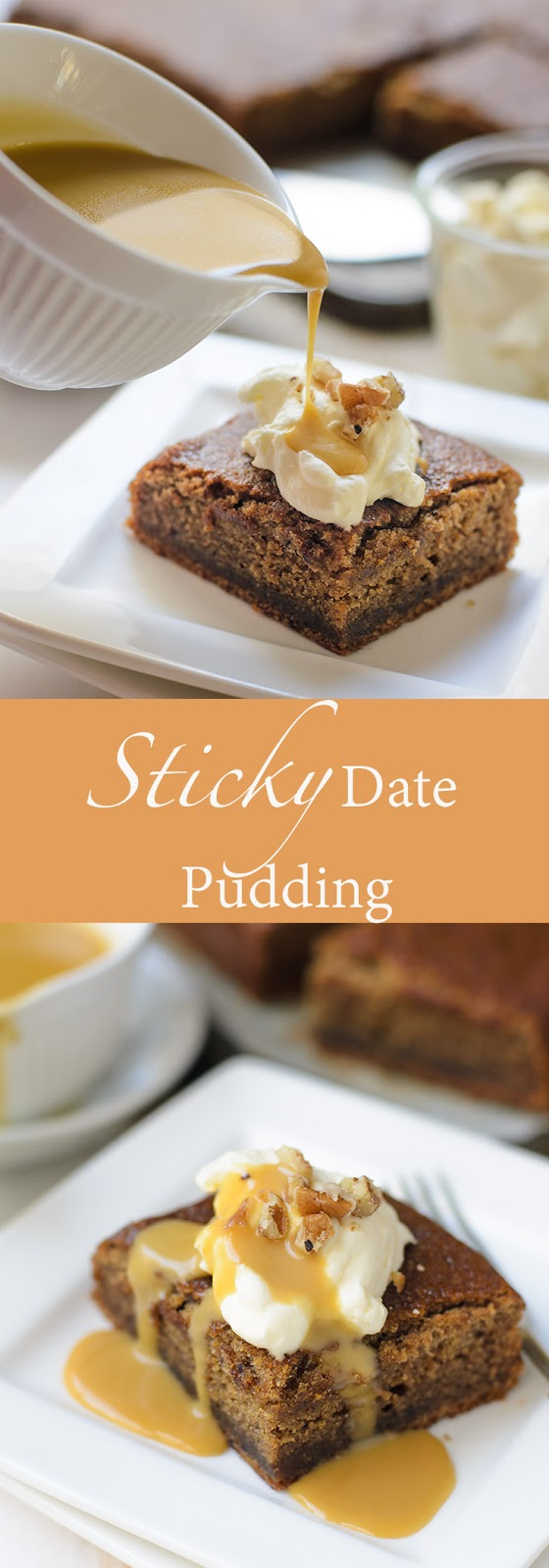 Sticky date pudding with brown butter toffee sauce photo