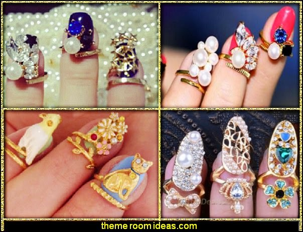 Finger  Nail Art Rings - Knuckle Ring - Crystal Finger Nail Art Ring Jewelry