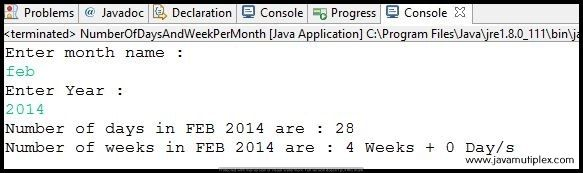 Output of Java program that finds number of days and weeks for given month - case2