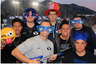 green screen for byu ulumni spring scrimmage