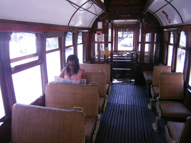 Inside the Oporto tram, with the missus acting as glamorous tram buff!