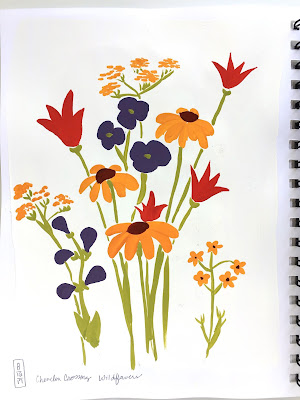 Daily Painting gouache wildflower sketch on gesso background - Chevelon Crossing campground wildflowers - by Amy Lamp