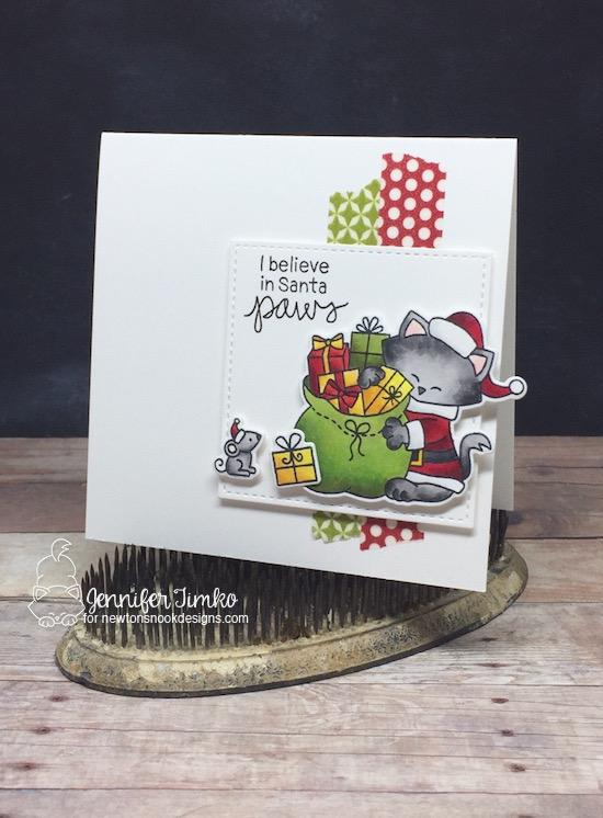 Santa Cat Christmas Card by Jennifer Timko | Santa Paws Newton Stamp Set by Newton's Nook Designs #newtonsnook #handmade
