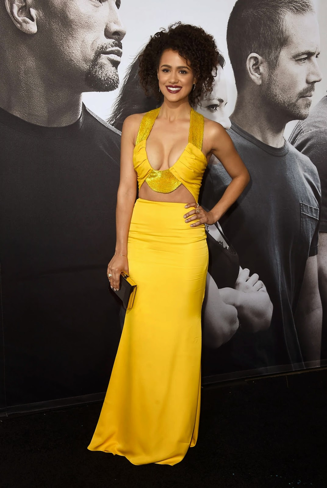 Nathalie Emmanuel bares cleavage at the 'Furious 7' premiere in LA