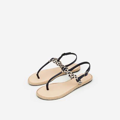 Giày Sandal T-STrap Phối Quai Thắt Bím - SDK 0295 - Màu Be