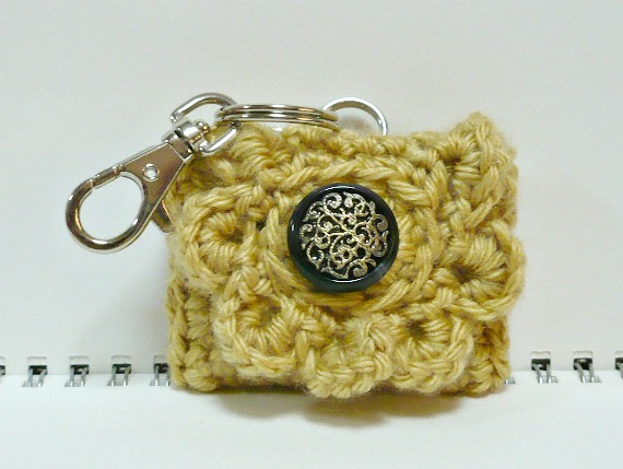 bc9e1d743 Crochet Small Coin Purse cum Key Chain Holder in Wheat/Gold Color 2.5 x 2  inches