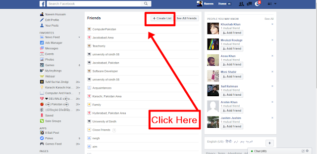 Create Facebook Friends Lists button to create
