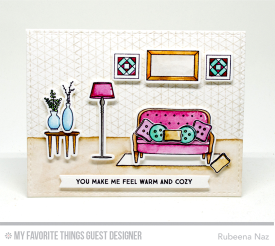 Warm & Cozy Card by Rubeena Naz featuring Lisa Johnson Designs Make Yourself at Home stamp set and Die-namics, Geometric Background stamp and Blueprints 27 Die-namics #mftstamps