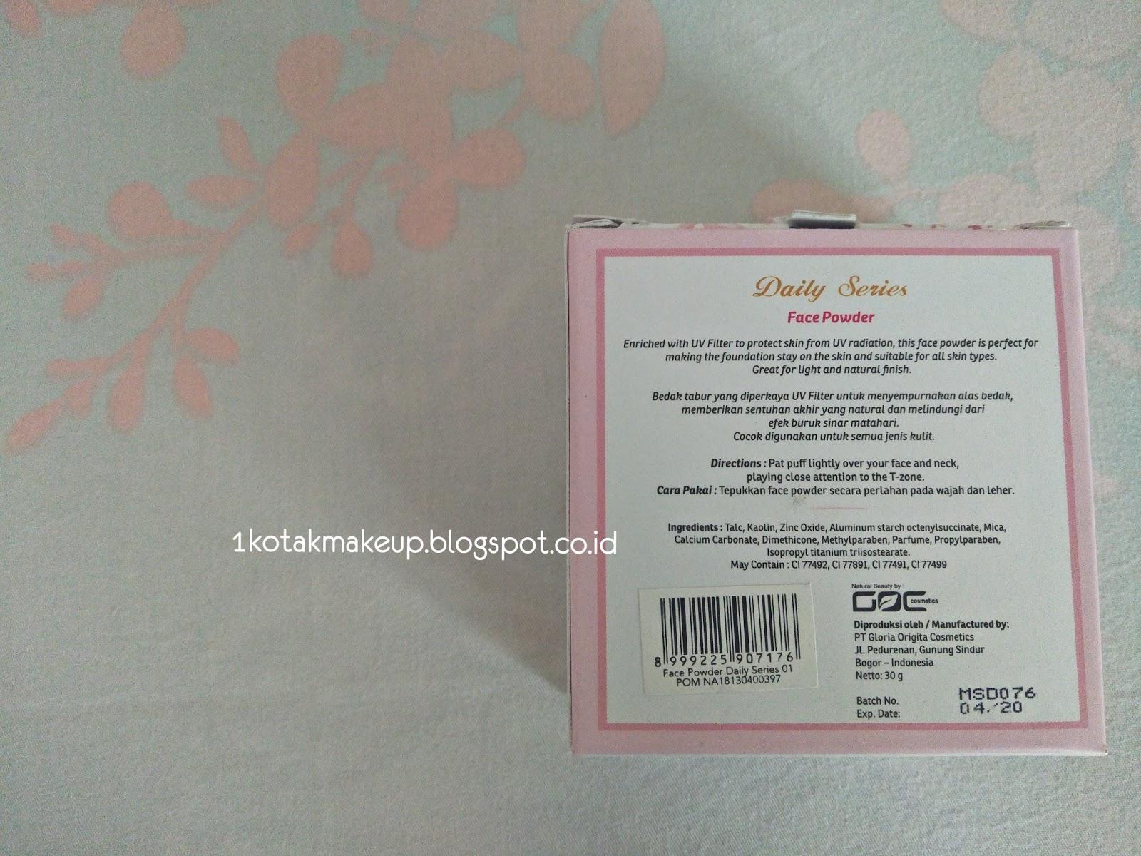 Purbasari Face Powder Daily Series 01 Natural 30gr Daftar Harga Foundation Tac Tampilan Belakang Kotak