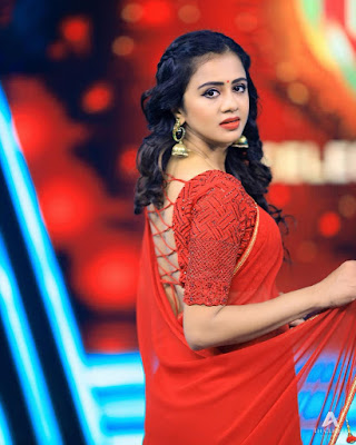 VJ Anjana Rangan New Red Saree Photoshoot