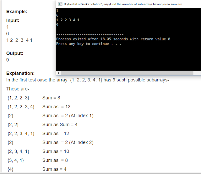 "Geeksforgeeks Solution For "" Find the number of sub-arrays having even sum """
