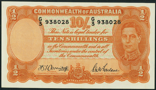 Australia 10 Shillings banknote 1942 King George VI