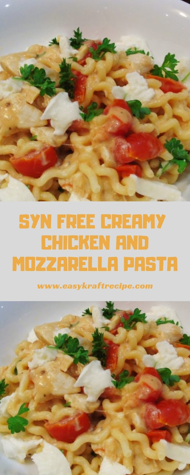 SYN FREE CREAMY CHICKEN AND MOZZARELLA PASTA