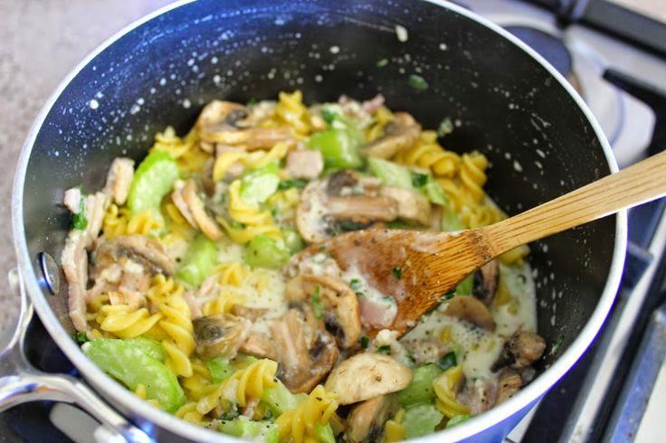 My Bacon, Mushroom & Celery Creamy Pasta | Cate Renée