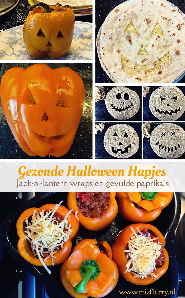 Ideeën voor gezonde Halloween hapjes met Mexicaans thema. Jack-o'-lantern wraps en gevulde paprika's.