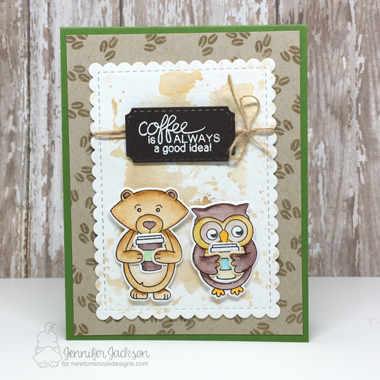 Spring/Summer Coffee Lovers Blog Hop! Coffee Card by Jennifer Jackson | Sending Hugs and Newton Lvoes Coffee Stamp Sets and Framework Die Set by Newton's Nook Designs #newtonsnook #handmade