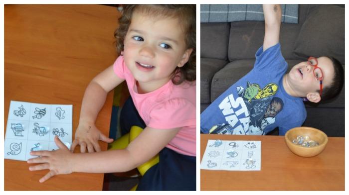 juego para adquirir conciencia fonológica: bingo de rimas, niños divirtiéndose jugando